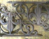 2 Cast Iron Antique Style Fleur De Lis Brackets, Garden Braces Shelf Bracket
