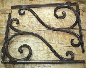 2 MEDIUM BROWN ANTIQUE STYLE 6.5 SHELF BRACKETS CAST IRON rustic garden SCROLL Hooks, Brackets & Curtain Rods
