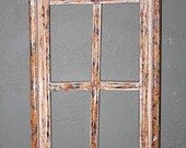 Wooden Antique Style Church WINDOW Frame Primitive Wood Gothic 34 quot Shabby