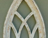 Wooden Antique Style Church WINDOW Frame Primitive Wood Gothic 17 1 2 quot Shabby