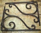 2 Cast Iron Antique Style LARGE SCROLL Brackets Garden Braces Shelf Bracket