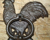 Cast Iron Antique Style Rustic ROOSTER Door Knocker Brown Finish CHICKEN Farm Man Cave
