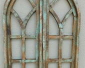 2 Wooden Antique Style Church WINDOW Frame Shutters Wood Gothic 36 quot Shabby