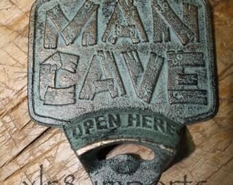 Cast Iron MAN CAVE Plaque OPEN Here Beer Bottle Opener Rustic Wall Mount