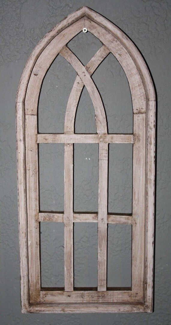 """Wooden Antique Style Church WINDOW Frame Primitive Wood Gothic 30/"""" Shabby Chippy"""