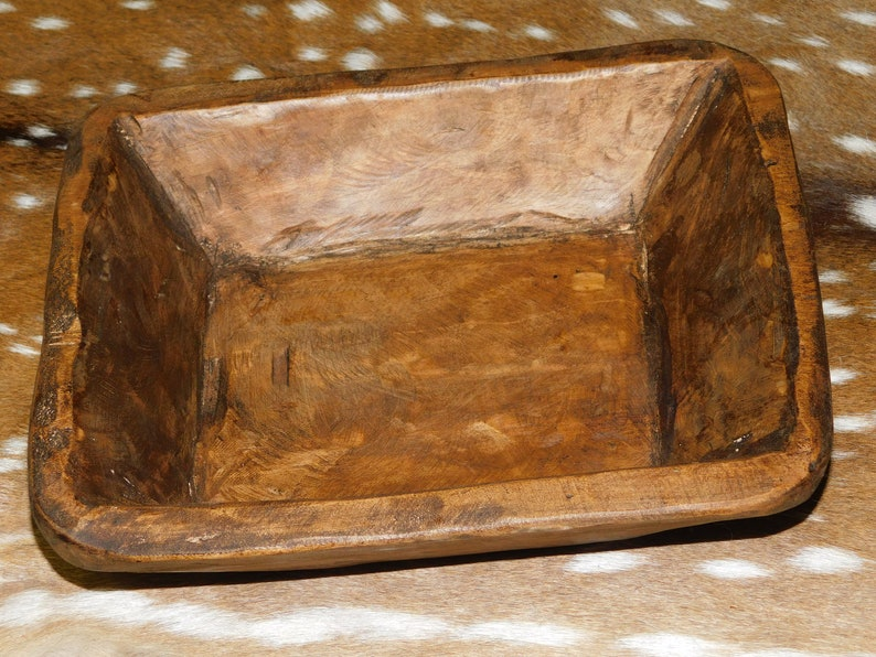 *Carved Wooden Dough Bowl Primitive Wood Trencher Tray Rustic Home Decor 22 inch