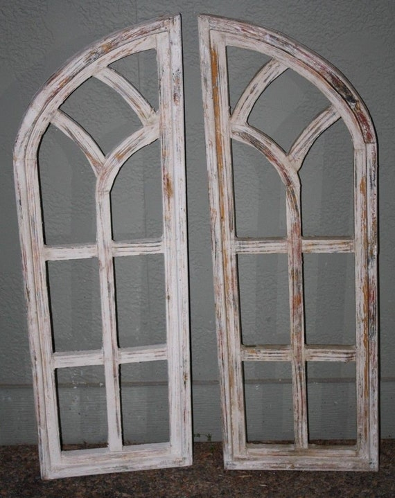 2 Wooden Antique Style Church Window Frame Shutters Wood Gothic 35 12 Shabby