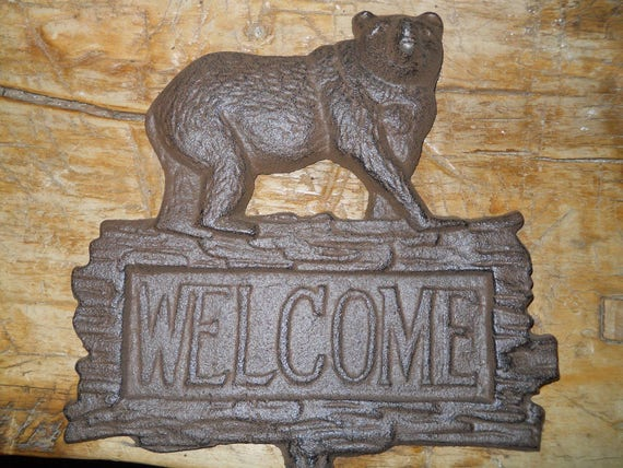 Cast Iron FROG WELCOME Sign Garden Stake Home Decor Toad Pond Plaque