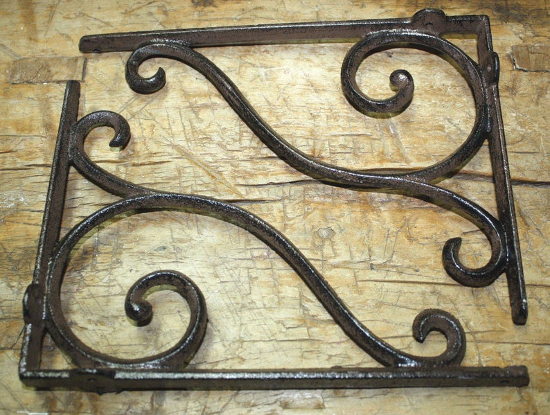 2 LG HD Cast Iron Antique Style CABLE Brackets Garden Braces Shelf Bracket BAR 2