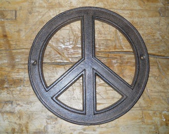 Cast Iron Hippie PEACE Sign, Flower Power Plaque Wall Decor 8 INCH Round