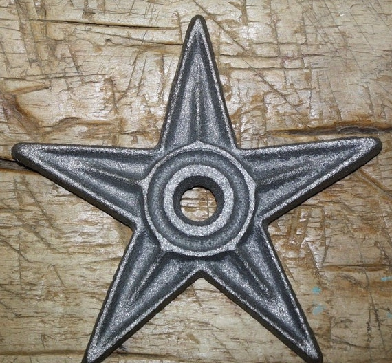 """2 Rustic Architectual Stress Washer Candle Star size  6 1//4/"""" Wide Cast Iron"""