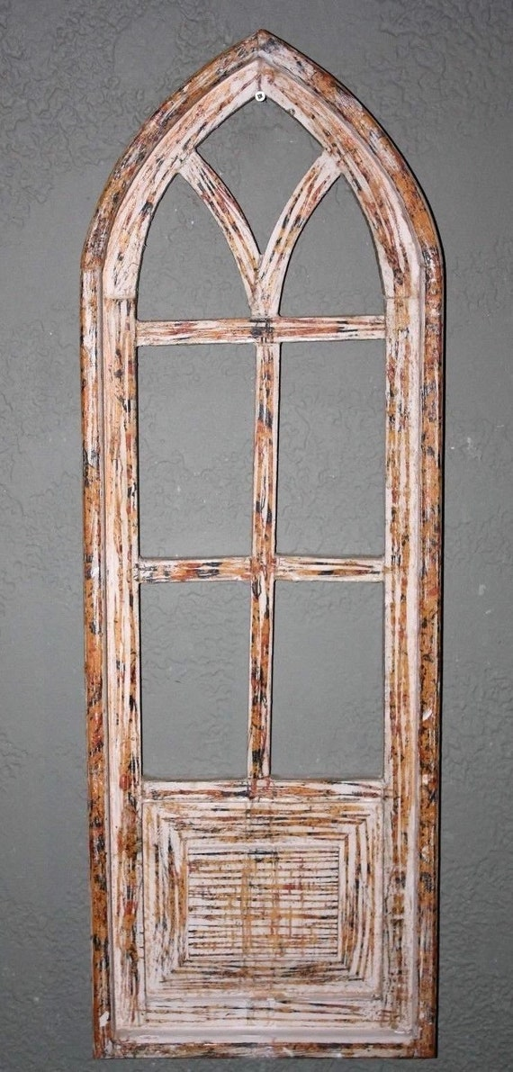 """Wooden Antique Style Church WINDOW Frame Primitive Wood Gothic 22 1//2/"""" GREEN"""