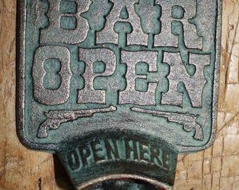 Cast Iron BAR OPEN Plaque OPEN Here Beer Bottle Opener Rustic Western Wall Mount