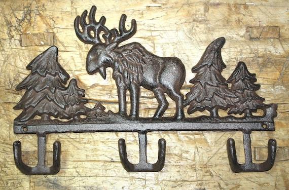 Cast Iron DEER HEAD Wall Coat Hat Key Towel Hook Rustic Cabin Hunter