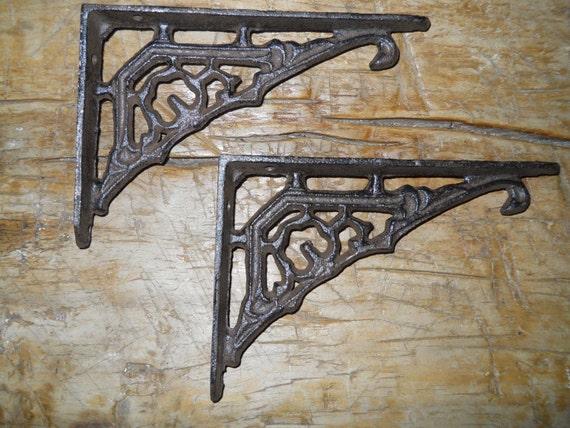 4 LG HD Cast Iron Antique Style CABLE Brackets Garden Braces Shelf Bracket BAR 3