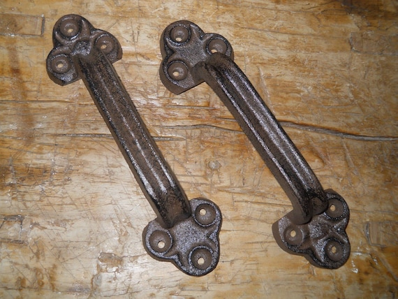 4 Large Cast Iron Antique Style FANCY Barn Handle Gate Pull Shed Door Handles #7