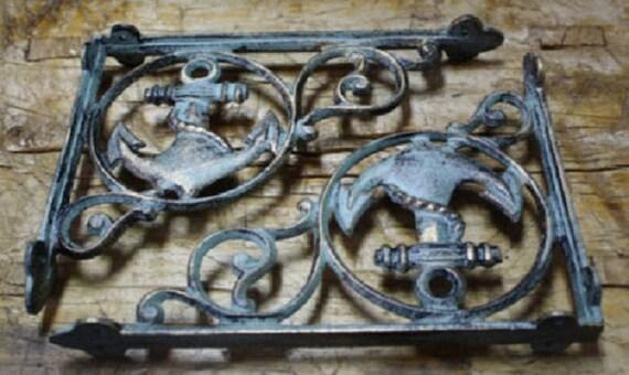 10 Cast Iron NAUTICAL ANCHOR Brackets Garden Braces Shelf Bracket PIRATES SHIP