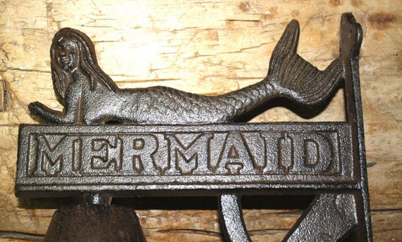 Phenomenal Cast Iron Antique Style Garden Mermaid School Bell Bracket Nautical Beach Pool Gmtry Best Dining Table And Chair Ideas Images Gmtryco