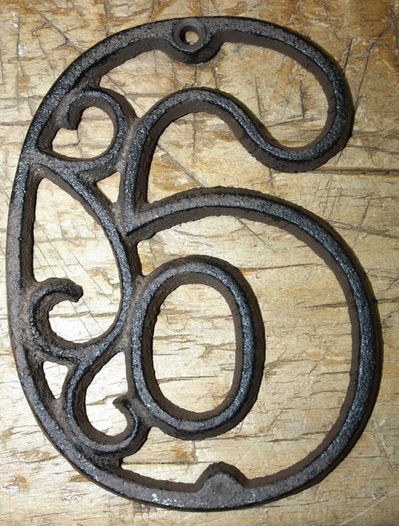 Rustic BROWN Cast Iron Metal House Number Street Address 4 1//2 INCH Phone # 6