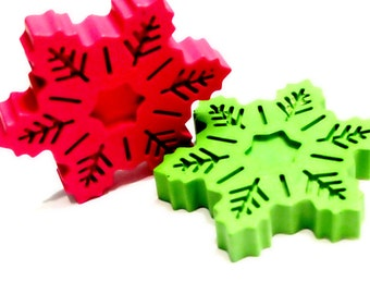 Decorative Year-round Snowflake Crayons Set of 2
