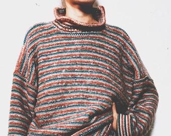 Wool Turtle Neck Stripped Vintage Sweater