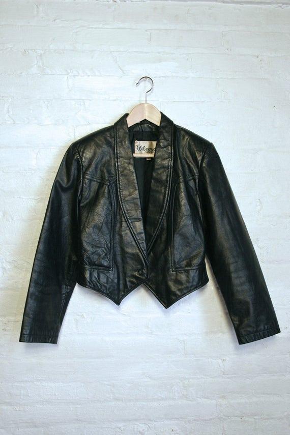 Leather Jacket Blazer Short Small Black