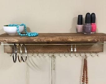 Jewelry Organizer - Jewelry Display - Wooden Jewelry Rack - Wall Jewelry Holder - Jewelry Organization - Jewelry Storage