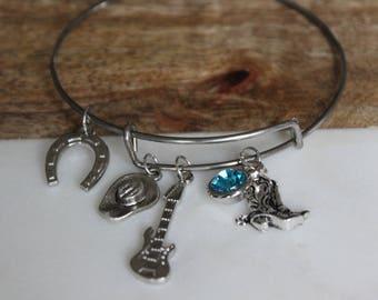 Texas girl bracelet, Country music fan jewelry, Country music gift for her, Horse bracelet gift, Rodeo bracelet