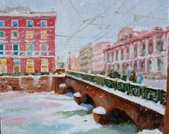 Winter Snow Cold Anichkov Bridge in St.Petersburg Ice on Canal - Russia, fineart, impressionism, river , street