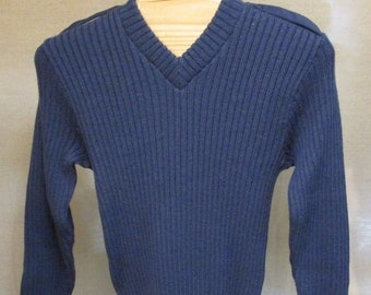 55e2ebf181 Vintage Citadel Britain Blue Wool Military Army Jumper Sweater US M EURO 40  England