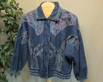 0da86625f4d Vintage 1980 s LAVON Denim   Floral Bomber Style Jean Jacket Women s L