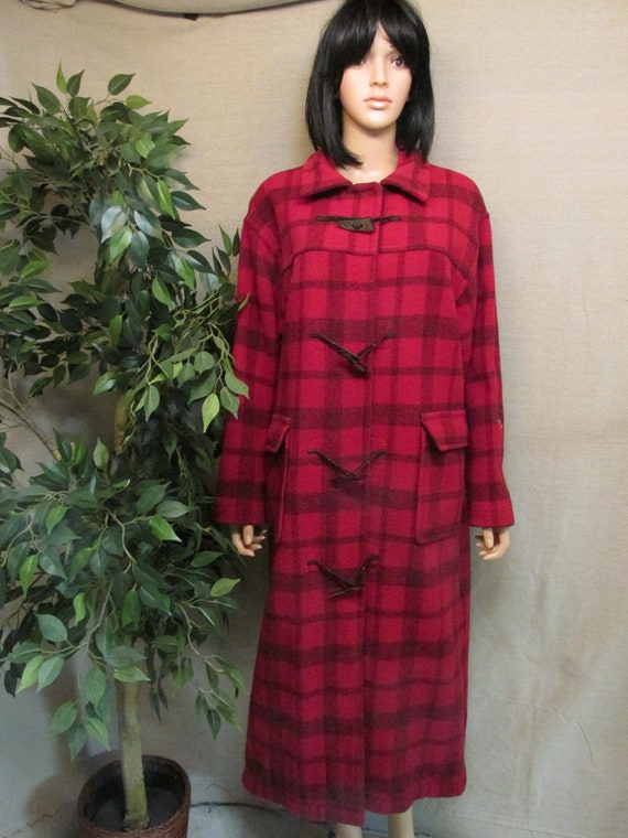 Vintage 1980's Woolrich Toggle Buffalo Plaid Wool