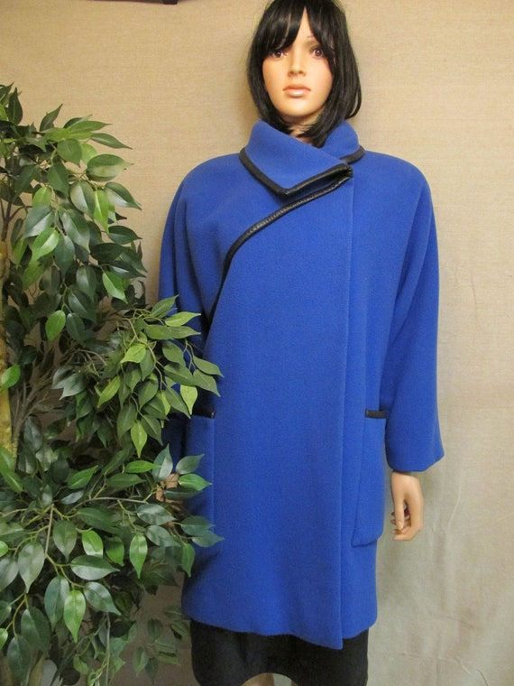Vintage 1980's Pauline Trigere Royal Blue & Black
