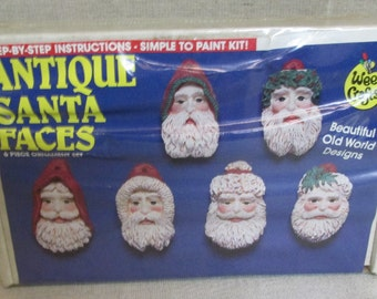 Vintage 1980's Unused Unopened WEE CRAFTS Plaster Gypsum Christmas Antique Santa Faces 6 Ornaments Paint Kit