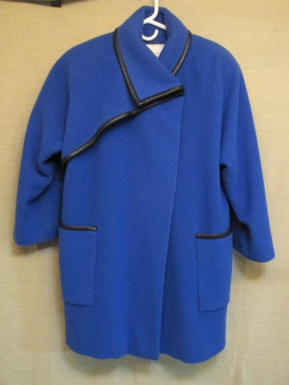 Vintage 1980's Pauline Trigere Royal Blue & Black… - image 6