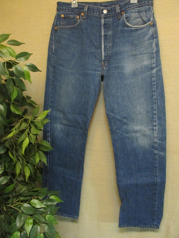 b7f848f9 Vintage Levis 501 Regular Fit Straight Leg Blue Denim Jeans | Etsy