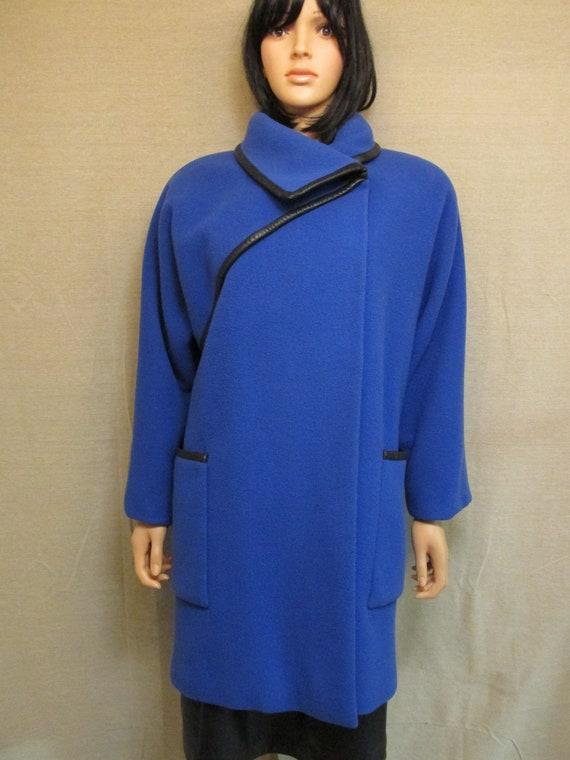 Vintage 1980's Pauline Trigere Royal Blue & Black… - image 2