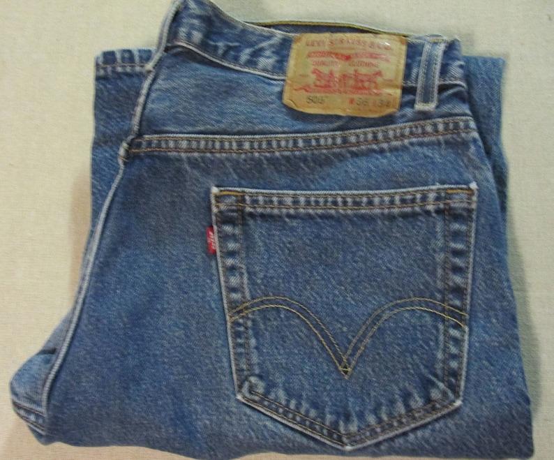 72b05428b10 Vintage Levis Red Tab 505 Regular Fit Medium Blue Denim | Etsy