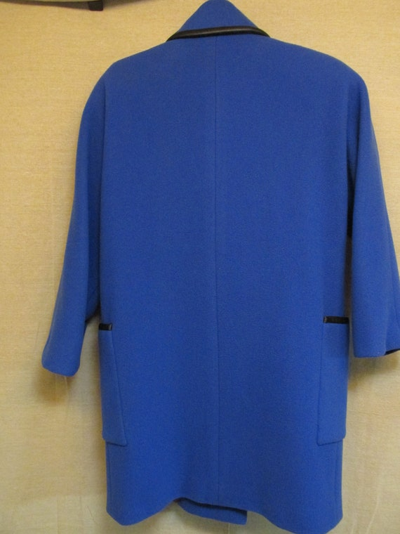 Vintage 1980's Pauline Trigere Royal Blue & Black… - image 7