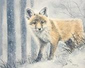Wintry Wanderer Fox Kit Original Watercolor Painting