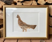 "Ruffed Grouse game bird framed original watercolor painting outdoors man wall hanging artwork ""Ruffy"" game bird hunting art"