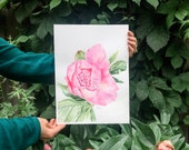 Flourish Where You're Planted Pink Peony Bloom Original Watercolor Painting
