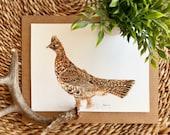 "Ruffed Grouse game bird original watercolor painting outdoorsman wall hanging artwork unframed ""Ruffy"" game bird hunting art"