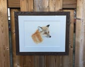Rouge the Fox, fox art, original watercolor, painting, realistic art, wildlife art, nature art, red fox, wall hanging, artwork, fox head