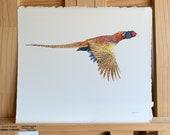 Pheasant Game Bird Original Watercolor Painting Autumn Flight Hunting Wall hanging for him