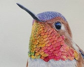 "Colorful Hummingbird Original Watercolor Portrait Unframed Painting ""Bulletproof"""