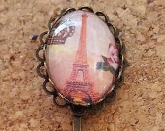 Eiffel Tower Vintage lace Bronze Barrette