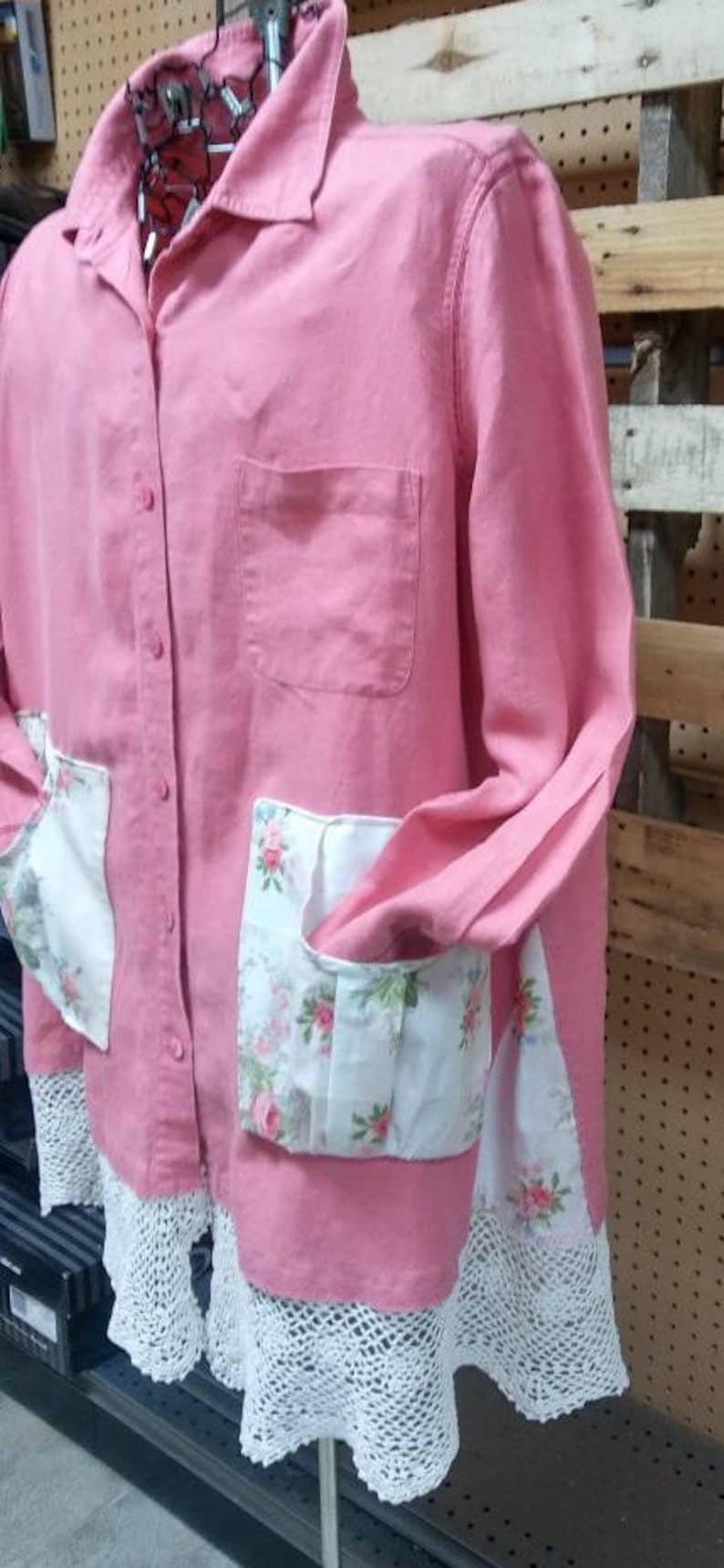 Upcycled plus size shabby chic tunic.