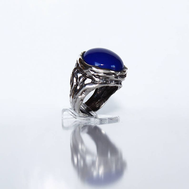 Lapis Silver ring 925 with burnished finish