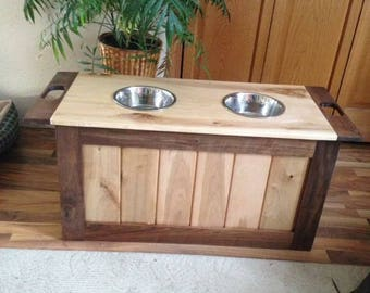 Walnut and maple chest (with dog bowl holders)